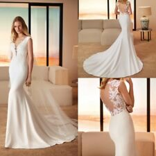 Wedding Dresses Sheath Bridal Gowns Sleeveless Size 0 4 6 8 10 12 14 16 18 20 22