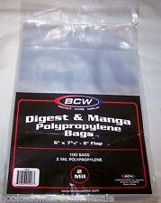 1 Pack of 100 BCW Manga - Readers Digest Bags Sleeves Holder Storage Protection