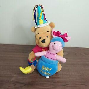"Vintage Disney Store 7"" Happy Birthday Winnie The Pooh & Piglet Beanie Soft Toy"