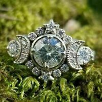 Retro Vintage Engagement & Wedding Ring 2.18Ct Round Diamond 14K White Gold Over