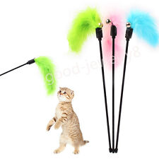 Cute Pet Kitten Cat Interactive Fun Toy Teaser Turkey Feather Wire Chaser Wand