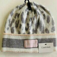 Calvin Klein leopard knit beanie hat, gray, cream, tan, one size