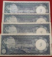 BILLETES - ANTILLAS HOLANDESAS - 5 GULDEN 2-1-1962/ 2 CON SERIE A Y 2 SIN SERIE
