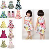 Girls Dress Flower Print Multi-color Party Child Clothes Size 2-10 Pageant