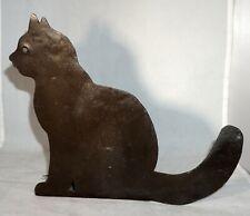 Vintage Unusual Folk Art Sheet Metal Black Cat Figure or Possible Doorstop