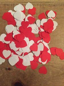 300 X Romantic Red & White Scalloped Paper Heart  Table-Confetti-2.5cm