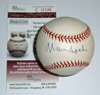 BRAVES Warren Spahn signed NL baseball JSA COA AUTO Autographed Milwaukee (D)