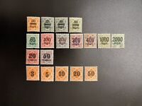 1923 Wurttemberg Official Stamps Surcharged German States Germany Lot Of 18
