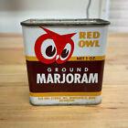 Vintage 1948 Red Owl Minneapolis Spice Tin Ground Marjoram 1 oz Tin Can Partial
