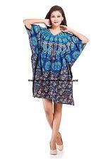 Indian Kaftan Peacock Mandala Print Womens Kimono Sleeve Nighdress Maxi Dress