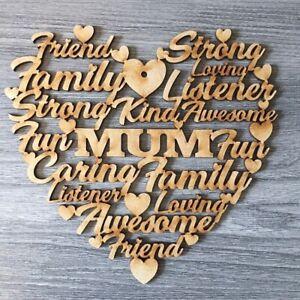Mdf lasercut words art heart, mothersday, mum, nan, gran undecorated