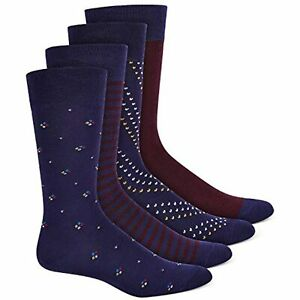 MSRP $26 Alfani Mens Dress Socks Navy Burgundy 4 Pack Blue Size One Size