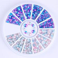 Gradient Semi-circle Pearl Bead Mixed Size Blue White 3D Nail Decoration DIY