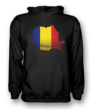 Romania Flag Map - Mens Hoodie