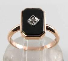 LUSH 9CT 9K ROSE GOLD ONYX & DIAMOND ART DECO INS RING FREE RESIZE