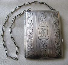 Antique Art Nouveau Floral Silver Plate Card Case Coin Holder Purse Compact FA