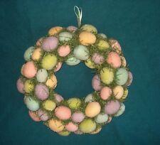"""Easter Door Decor - Easter Egg Wreath - Spring Decor - Farmhouse Pastel Eggs 12"""""""