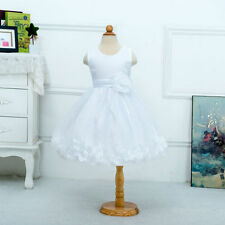 Girls Bridesmaid Dress Kids Princess Wedding Summer Party Flower Big Flower Bow