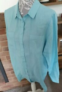 NEW WITH TAGS Boden Sky Blue Linen Shirt, Long sleeved size 16L Rrp £60