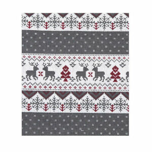 Cute Fawns Animal Christmas Striped Fabric Vintage Cotton Linen By the Half Yard