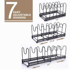 Adjustable Kitchen Cabinet Pantry Pan Rack Holder Pot Lid Organizer Brown