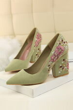 Womens Vogue Faux Suede Pointed Toe Embroidery Block Heel Party Pump Court Shoes