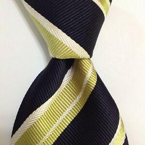 CANALI Men's Silk Blend Necktie ITALY Designer STRIPED Blue/Green/White PERFECT