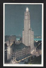 c1919 illuminated Woolworth Building at night New York City postcard