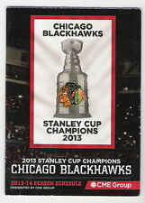 2013-14 CHICAGO BLACKHAWKS POCKET SCHEDULE 2013 STANLEY CUP CHAMPIONS! FREE SHIP