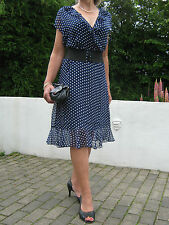 PIN UP Stile Vintage 1940/50s Stile Polka Dot Tea Dress 12,14