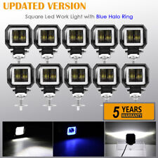 10x 3inch LED Work Light Bar Spot Driving Fog Pods DRL Blue Halo Offroad 4WD ATV
