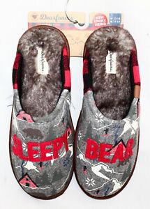 NWT DEARFOAMS Sleepy Bear Alpine Scuff Slipper Women 13-14 Men 11-12 Gray Red