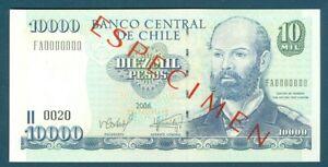 Chile Specimen Pick 157s 10,000 Pesos Diez Mil Pesos 2006 Especimen