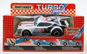 1985 Matchbox Turbo Specials TS-4 Goodyear Pro Stocker Turbo WHITE / BOXED