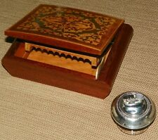 Mid Century Italy Sorrento Inlaid Wood Cigarette Box & Sterling Silver Lighter