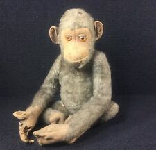 "ANTIQUE JOCKO MONKEY STEIFF STUFFED TOY RARE UNDERSCORED ""F"" STEEL EAR BUTTON"