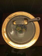 22 Karat Gold Trim Cake Plate With Server Warranted