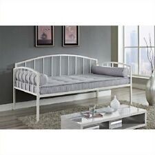 Twin Size Metal Day Bed Bedframe Contemporary Without Mattress Furniture White