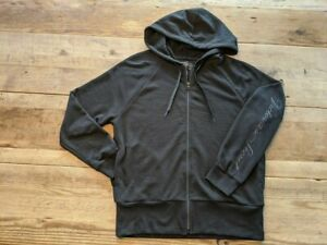 Victoria's Secret Ivory Logo LARGE Stretch Fleece Front Zip Hoodie Sweatshirt