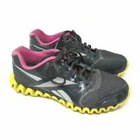 Women's Reebok Zignano Fly 2 Shoes Sneaker Size 7.5 Running Gray Yellow Pink H15