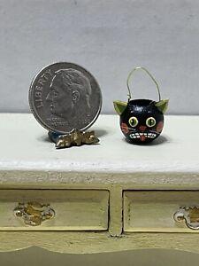 VTG Artist K MARKLAND Black Cat Halloween Candy Pail Dollhouse Miniature 1:12