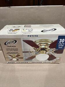 """VINTAGE New Old Stock  ENCON Ceiling Fan 30"""" Ceiling Fan Polished Brass"""