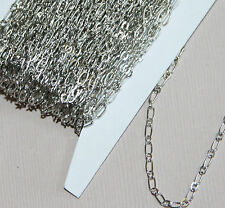 10ft of Antique Silver Plated Long and Short chain 4X2mm