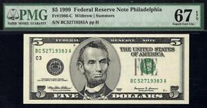 1999 $5 Philadelphia Federal Reserve Note FRN • PMG 67 EPQ • 1986-C *TOP POP 1/0