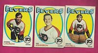 1971-72 TOPPS FLYERS FAVELL + JOHNSON + LACROIX  CARD (INV#3570)