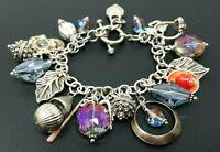 """Vintage Sterling Silver 925 Austrian Crystal Loaded Charm Bracelet 7"""""""