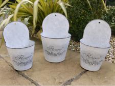 Vintage Grey Wall Metal Bucket Zinc Galvanised Flower Plant Pots Garden Planters