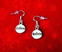 BUY 3 GET 1 FREE~SILVER BELIEVE CHARM DANGLE EARRINGS~CHRISTMAS MAGIC FAITH HOPE