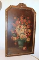 Large antique original botanical flower still life oil painting ornate frame