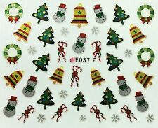 Nail Art 3D Decal Stickers Christmas Tree Snowman Wreath Candycanes Holiday E037